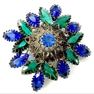 Blue Green Rhinestone Brooch